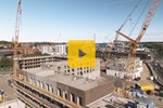 Seven Crawler Cranes in Danish Harbor City