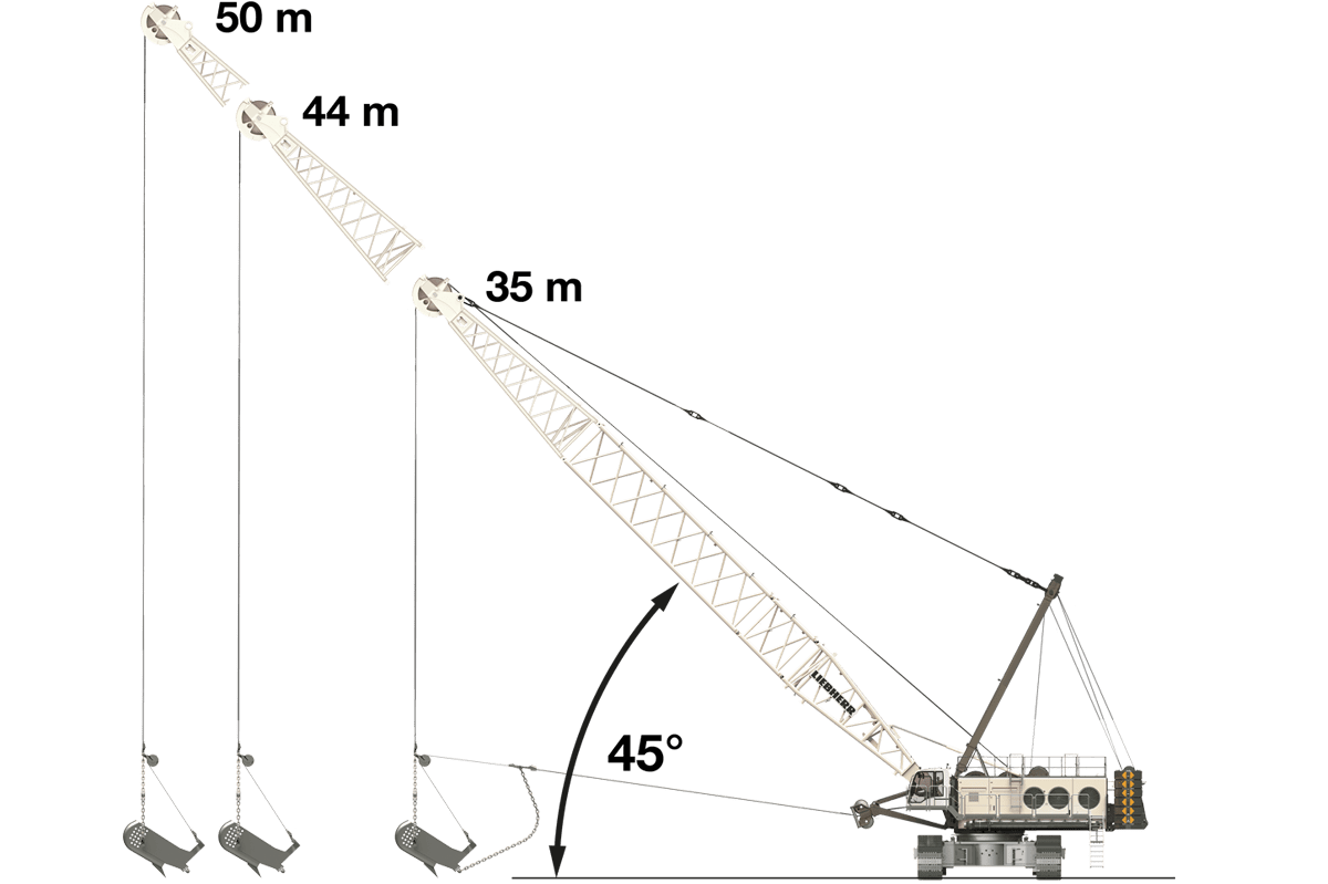 Liebherr HS 8300 HD Digging Ranges 45 degrees