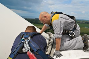 Service work on a wind turbine