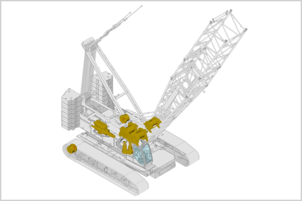 For Liebherr crawler cranes, the repair and overhaul of diesel engines, hydraulic components, gearboxes, swivelling drives and splitter boxes as well as rope winches is offered.