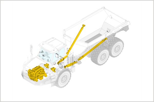 For articulated trucks by Liebherr, diesel engines and hydraulic components are available through the Reman Program.