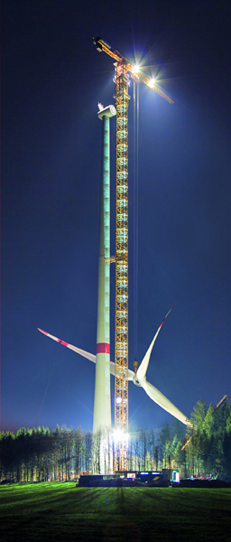 Liebherr tower crane enables a completely pre-assembled rotor to be installed