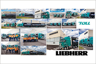 Collage of the Toll trucks at the Liebherr-Australia head office