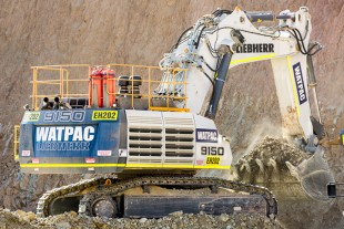 Watpac's R 9150 mining excavator working in the Western Australian goldfields.