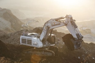 A Liebherr R 9150 mining excavator at work in Sishen mine in South Africa.