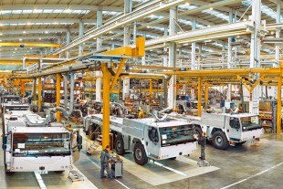 Inside the mobile crane factory in Ehingen (Germany).