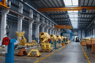Production line for truck mixers in the Liebherr plant in Xuzhou