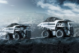 Mining trucks in open-cast mining operations during off-site transportation of material