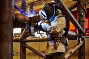 Welding individual parts of a crane together