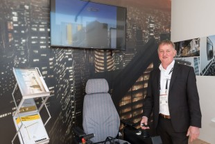 Thomas Steib is Liebherr's virtual reality expert at Conexpo-Con/Agg