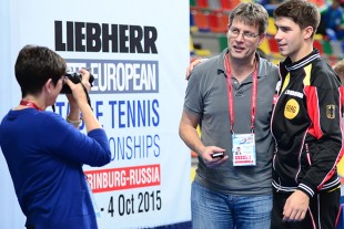 ITTF President Thomas Weikert with German team member Patrick Franziska