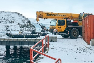 The Liebherr crane at its final destination in Antarctica.