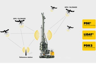 The combination of the visualized digitized drilling plans with the actual DGNSS and machine data provides optimum assistance to the operator for the exact positioning and precise execution of the drilling process.