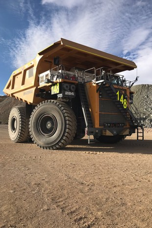 The Liebherr T 284 mining truck operating at the Collahuasi Mine.