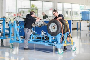 Preparation of a landing gear at Liebherr-Aerospace in Laval, Montreal (Canada) for delivery to the C Series final assembly line