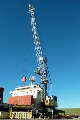 Qube's new LHM 420 mobile harbour crane.