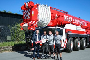 From left to right: Kristian Holst (Liebherr-Danmark ApS), Casper Petersen, Mikkel Eriksen, Morten Eriksen (all from Kran Kompagniet ApS)