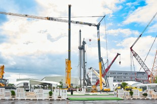 Several new products for the Russian market we represented on the exhibition: LRT 1090-2.1 rough-terrain crane, L1-24 tower crane and L 586 Xpower loader.