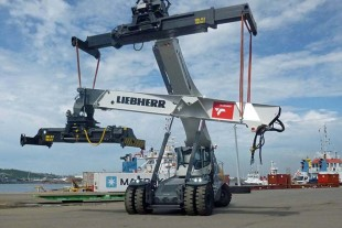 A Liebherr LRS 545 reachstacker assembling its six companions in Durban Port, South Africa.