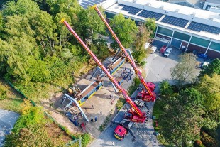 Bird's eye view – new home for old suspended railway trains.