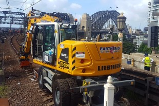Earthtrack Solutions' A 922 Railroader working on the rail lines at Sydney Harbour Bridge.