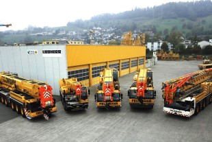 Feldmann unveils the new mobile cranes at its company site in Schmerikon.