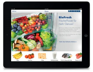 Liebherr' s new, free 'BioFresh HD' app for tablets is simple and intuitive to use and provides information about shelf life and storage, as well as about the valuable vitamins and minerals contained within foods and their contribution to everyday health and fitness.