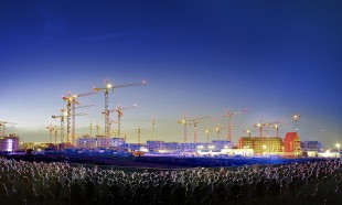 "Fleet of over 40 Liebherr tower cranes at the urban development project ""aspern+ Vienna's Urban Lakeside"""