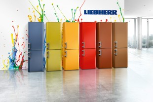 CU 3311 refrigerator in six possible colours: water blue, avocado green, orange, fire red, pearl copper and cappuccino
