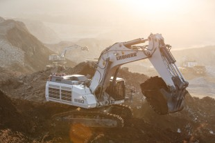 Liebherr hydraulic excavator R 9150 in backhoe configuration