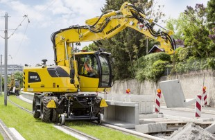 The Liebherr A 922 Rail two-way excavator at a construction site in Stuttgart (Germany)