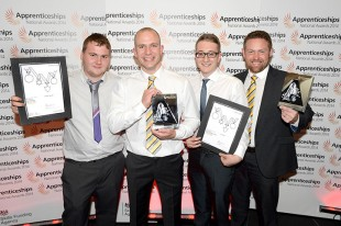 The winners from Liebherr-Great Britain Ltd. at the award ceremony: Jamie Reeve (4tn Year Earthmoving Apprentice), Craig Cherry (Earthmoving Workshop Manager), Ryan Brookes (3rd Year Business Support Apprentice) and Lee Mason (Apprentice Programme Generalist) (f.l.)