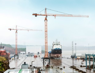 Two Liebherr 200 EC-H 10 FR.tronic tower cranes for permanent use in a ship repair yard in India.