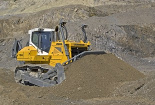 The new Liebherr PR 756 Litronic crawler tractor during gravel extraction.