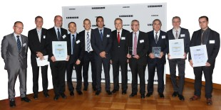 "The ""Best Performers of the Year 2014"" with Jean-Luc Maigne, Managing Director (5th from right) and Mathieu Tournier, Procurement Director (6th from right), Liebherr-Aerospace Toulouse SAS"