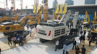 In Shanghai Liebherr is exhibiting a total of seven construction machines representing the product ranges of mobile cranes, mixing technology earthmoving equipment and mining - the largest exhibit being the mining excavator R 9100.