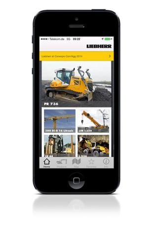 The app features details about all exhibits and up-to-date information from the Liebherr booth at Conexpo 2014