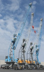 The Liebherr mobile dock cranes are ready for shipping to Algeria