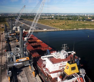 Liebherr LPS 600s servicing a vessel in Port Polnocny, Poland.