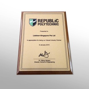Award of the Republic Polytechnic School of Engineering to Liebherr-Aerospace Singapore