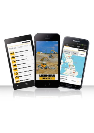 New mobile app from Liebherr Rental Services for hiring construction machines using a smartphone or tablet