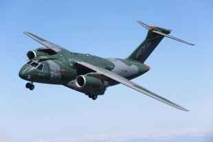 The KC-390 by Embraer during its maiden flight