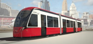 CAF's new low-floor tram with Liebherr leveling systems on board