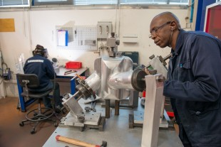 A welder in action in the workshops of Liebherr-Aerospace Toulouse SAS