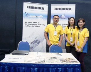 Tan Hua Hee, Lynn Cheong and Wendy Yip (from left to right) represented Liebherr-Aerospace Singapore at the Career & Internship Fair.