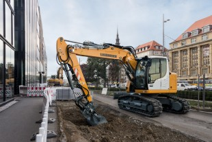 The Liebherr crawler excavator R 914 Compact on a construction site in Leipzig, Germany.