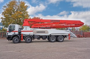 Liebherr 43 R4 XXT truck-mounted concrete pump with patented narrow outrigger