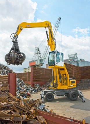 The Liebherr A 924 C material handler in scrap handling operation