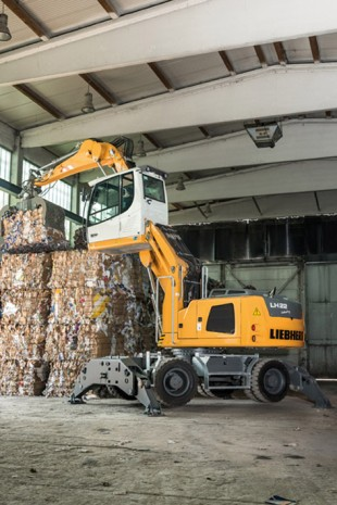 The Liebherr LH 22 M stacking pressed solid waste