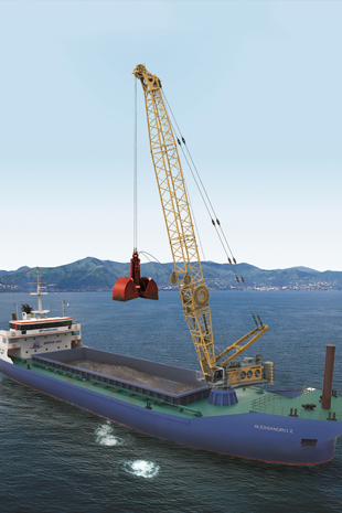 Rendering of the HS 8300 HD showing the duty cycle crawler crane on its future ship in the Mediterranean Sea